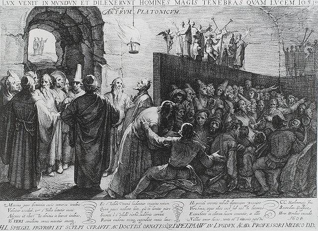 Jan Saenredam (1565–1607) har her illustreret hulelignelsen fra Platons værk Staten. Vi ser, hvordan flertallet forfærdes, skræmmes, glædes og diskuterer skyggebillederne i øverste højre hjørne i den tro, at det er virkeligheden. Længere står en flok mere indsigtsfulde personer, som enten har været helt uden for hulen eller står og samler mod til at gå ud i det hårde dagslys. Fra solen stråler sandheden om det gode lige ned i øjnene på folk og forvandler dem til filosoffer og politikere. Man kan sige, at regler, regulativer og lovforslag nærmest stråler direkte fra solen, gennem filosofferne og ned på befolkningen nederst i hulens mørke.