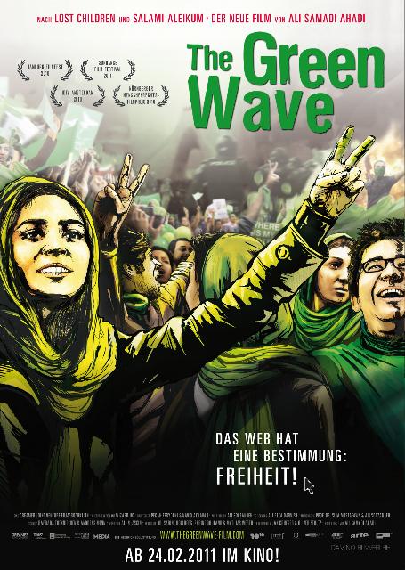 Plakaten fra Ali Samadi Ahadis fremragende film om demonstrationerne i Iran efter præsidentvalget i Iran 2009. fra filmens hjemmeside http://www.thegreenwave-film.com/