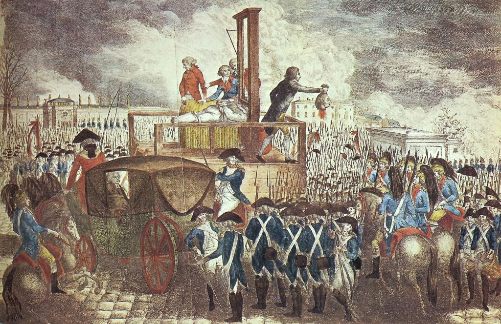 Louis den 16 henrettes.  Kobberstik af Georg Heinrich Sieveking fra 1793.