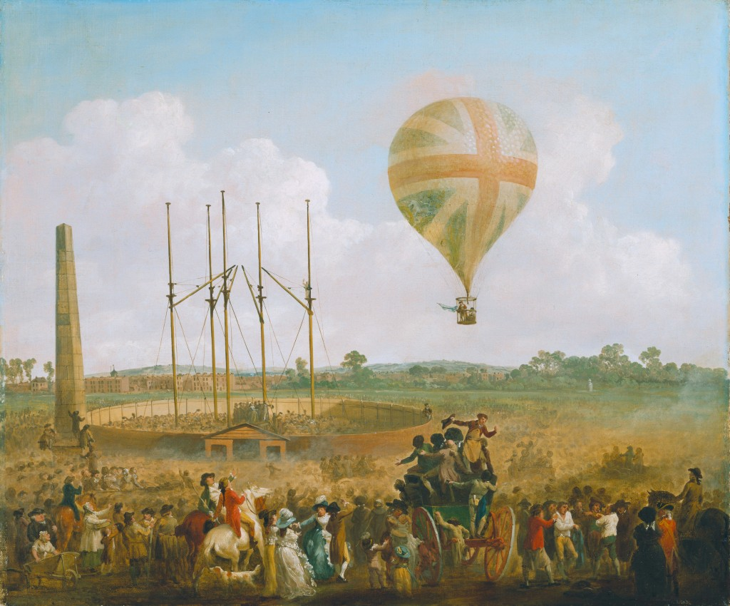 Julius Caesar Ibbetson har malet opsendelsen af George Biggins i en luftballon i 1785. Dejligt eksempel på oplysningstidens frygtløse eksperimenteren. Også i teksterne, den politiske filosofis klassikere, blev der leget med nye - og ofte forbudte - tanker.