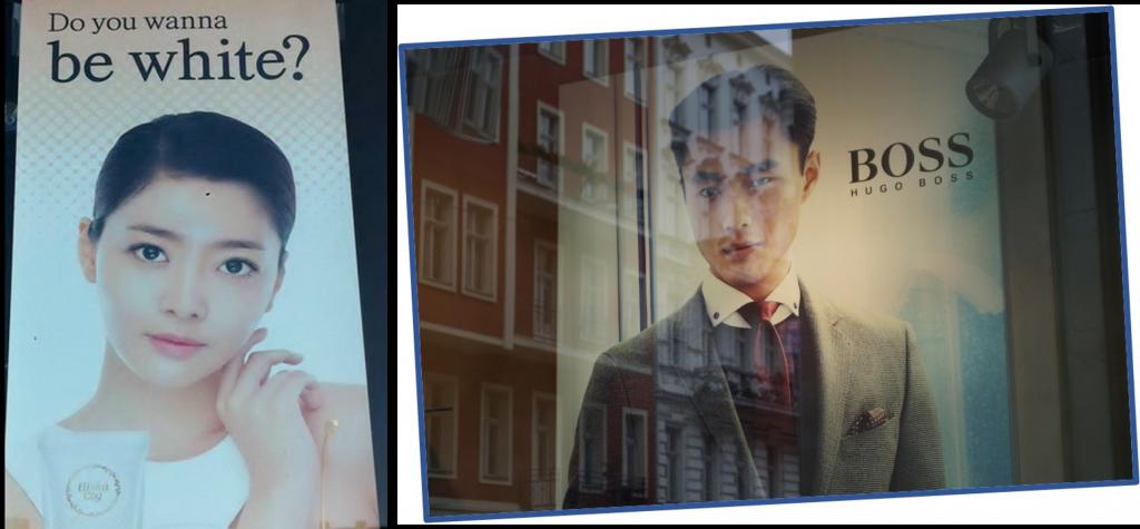 """Konvergens? Kan hænde, at asiater gerne vil ligne vesterlændinge være hvide, have rundere øjne, men indflydelsen går begge veje. En ung asiat i en reklame for Hugo Boss - og billedet er taget på Kurfystendam i Berlin. I 2014 vandt den kineseren Liao Fan i øvrigt Sølvbjørnen for bedste mandlige skuespiller og Guldbjørnen gik til den film, """"Black Coal, Thin Ice"""", han spillede med i. Sølvbjørnen for bedste kvindelige skuespiller gik til Haru Kuroki fra Japan."""