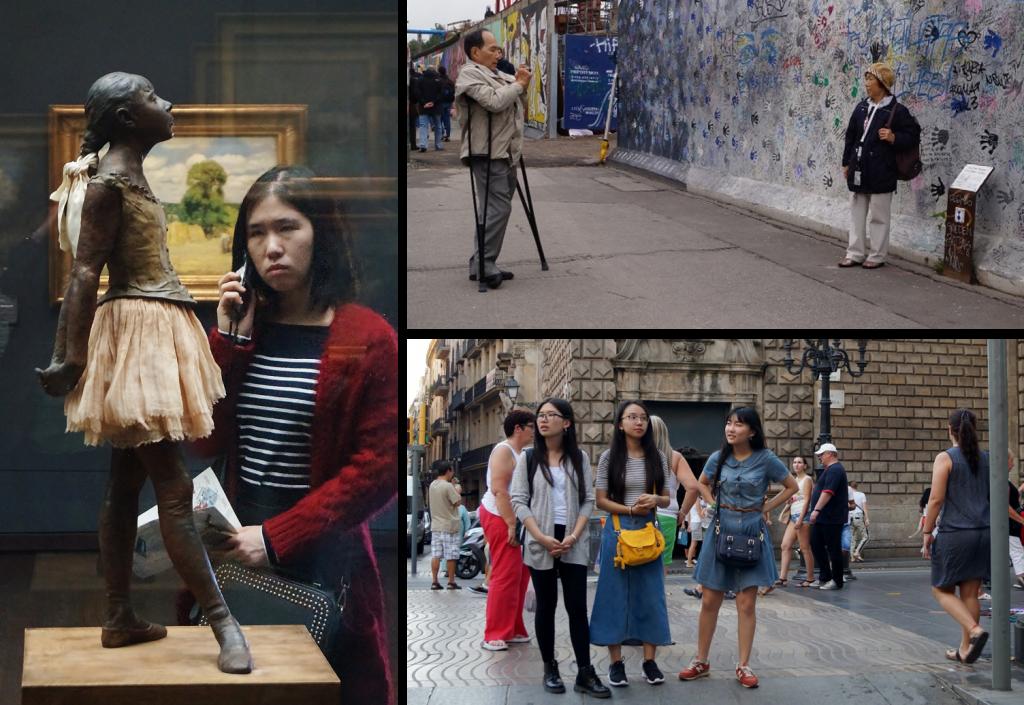 Asiatiske turister består ikke længere af busser fyldt med japanske turister, de ligner i højere grad europæere og amerikanere på jagt efter oplevelser. Fra højre, kvinde der betragter en af Degas små danserinder på Musee d'Orsay i Paris. Øverst til højre: et kinesisk ægtepar ved resterne af Berlinmuren, og nederst hvad jeg tror er Sydkoreanere på Ramblaen i Barcelona. Fotos Lars Andreassen.